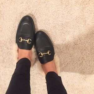 Shoes - Loafer Mules With Faux Fur Detailing.